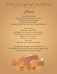 thanksgiving thanksgiving dinner menu recipes template free