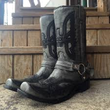 motorcycle harness boots corral men u0027s black grey shaded eagle u0026 harness square toe boot