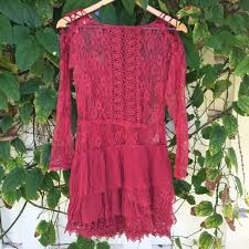 free people romantic red lace dress