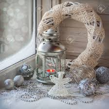 Window Ornaments With Lights Decorated Window Decorations And Lighted Lantern On