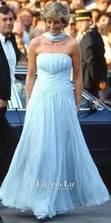 Light Blue Chiffon Dress Princess Diana Blue Strapless Chiffon Celebrity Dress Evening Prom
