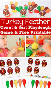 thanksgiving science activities turkey feather count u0026 sort playdough game u0026 free printable