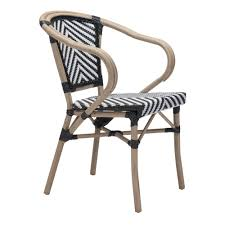 Metal Outdoor Dining Chairs Zuo Paris Metal Outdoor Patio Dining Chair In Black And White