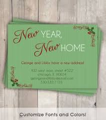 new year new address cards decking the new halls moving announcement bracket corners gray