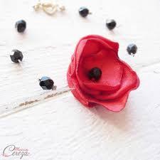Bracelet Fleur Mariage Bijou Mariage Rouge Noir Baroque Gothique Chic Coquelicot