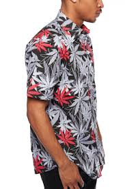 weed leaf print button down shirt w441