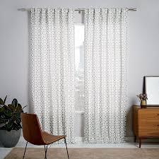 Lattice Design Curtains Cotton Canvas Circle Lattice Curtain Platinum West Elm