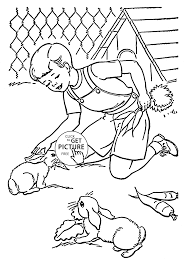 pet rabbits coloring page for kids animal coloring pages