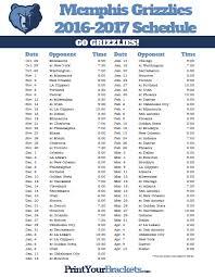 2016 2017 grizzlies schedule printable nba schedules