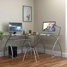 L Shaped Computer Table Stillman L Shaped Desk In Silver
