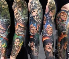 horror sleeve tattoo by sasha o kharin ad tattoos pinterest