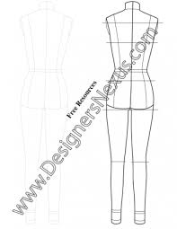 full body female dress form template sketch v7 back view