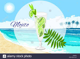 mojito cocktail vector cartoon style on the seaside background