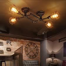 industrial semi flush mount lighting industrial cross plumbing semi flush mount ceiling light in rust