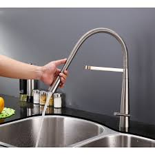 pull kitchen faucets stainless steel ruvati rvf1225bn single handle pull kitchen faucet