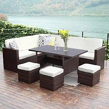 All Weather Wicker Patio Furniture Sets 10pcs Patio Sectional Furniture Set Wisteria
