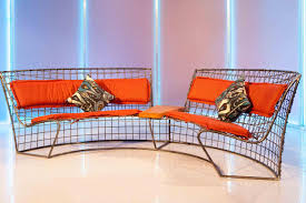 decor best wire bench with orange bench cushions indoor and wall