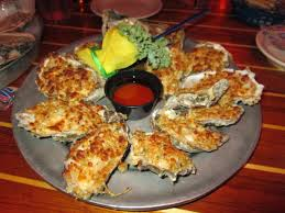 these baked oysters can be found at flounders chowder house in