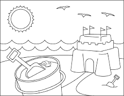 sand castle on beach summer coloring pages for kids dr5