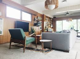 wood paneling modern cozy collected mid century modern den embracing dated original