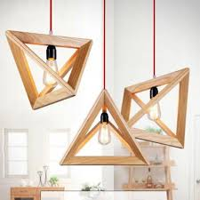 luminaire chambre d enfant vintage cordon e27 lustre triangle bois rétro luminaires style loft