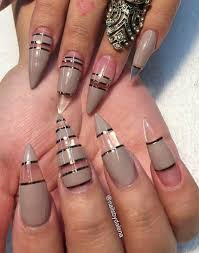 taupe stone transparent striped stiletto nails design nailart