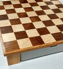buy a hand crafted custom wood and acrylic chess board with drawer