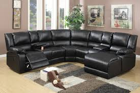 Black Leather Sectional Sofa Recliner Furniture Delightful Modern Black Leather Sectional Sofa With
