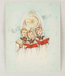 choir boys children singing vintage christmas card blue church