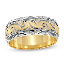 mens two tone gold wedding bands s 8 00mm swirled wedding band in 14k two tone gold s