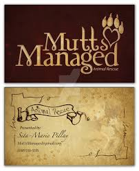 mutts managed animal rescue business cards by cmb design photo on
