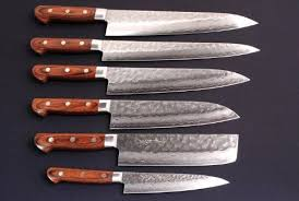 damascus steel kitchen knives yoshihiro hammered damascus chef knife 6pc set made in by