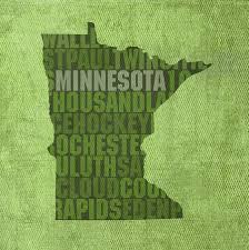 Minnesota United States Map by Word Art State Map On Canvas Mixed Media By Design Turnpike