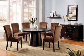 7 Piece Dining Room Set Havana Mocha Velvet Padded Chairs Round 7 Piece Dining Table Set