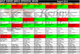 august 2014 disney world crowd calendar park hours kennythepirate