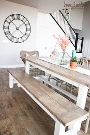 Farmhouse Kitchen Furniture Kitchen Table Square Farmhouse With Bench Concrete Reclaimed Wood