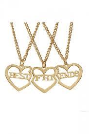 gold best friends necklace images Gold letter hollow out heart pendant 3 piece best friend necklaces jpg