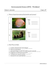 environmental science evs animals worksheet class ii