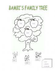 english worksheets bambi s family tree