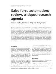 sales force automation review critique research agenda pdf