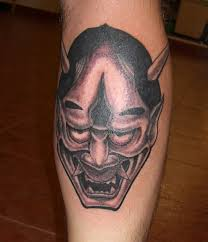 hannya mask tattoo black and grey hannya mask tattoo