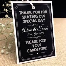 diy wedding signs personalised chalkboard style vintage wedding post box tag card
