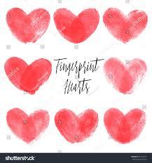 set 8 fingerprint hearts red realistic stock vector 414363217