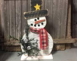 wooden snowman wood snowman etsy