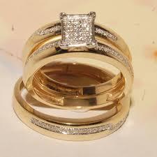 his and hers ring set personalised wedding band set yellow gold huiyi sets original