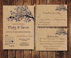 Kraft Paper Wedding Invitations Wedding Invitation Suite Template With Birds On A Tree Kraft