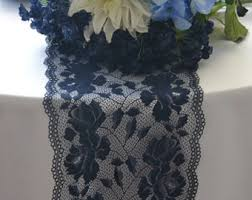 Navy Blue Lace Table Runner Navy Lace Runner Etsy