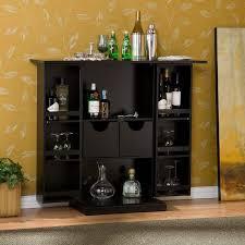 Black Bar Cabinet Adorable Black Gloss Modern Bar Cabinet With Cream Leaf Pattern