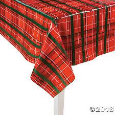 plaid christmas christmas plastic tablecloth roll