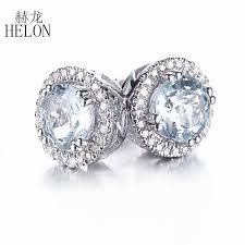 10k earrings helon 6mm genuine aquamarine earrings solid 10k white gold